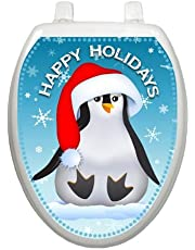 Happy Penguin Christmas Toilet Tattoo TT-X607-O Elongated Winter Holiday