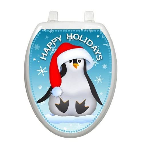 delicate Happy Penguin Christmas Toilet Tattoo TT-X607-O Elongated Winter Holiday