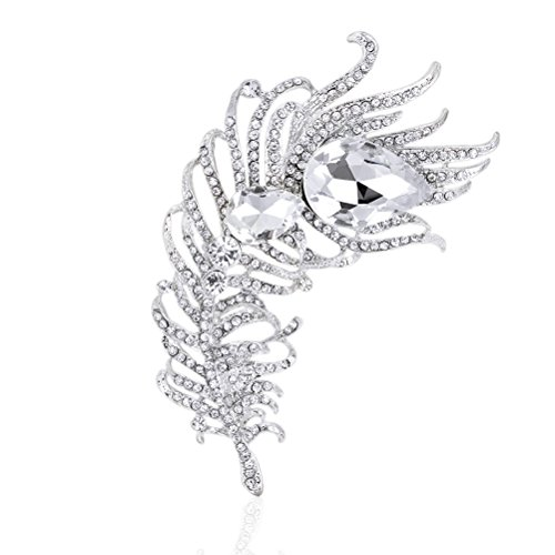 - Peacock Feather Brooches Pin for Women Bridal Glittery Rhinestone Crystal Brooch (Feather White 4.64