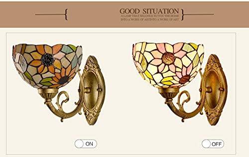 Tiffany-Art-Wand-Laterne Europäische Pastoral Sunflower Spiegel-Front-Wandleuchte Art Aisle Ecklampendas Treppen Light Metal LED-Beleuchtung Wandleuchte E27