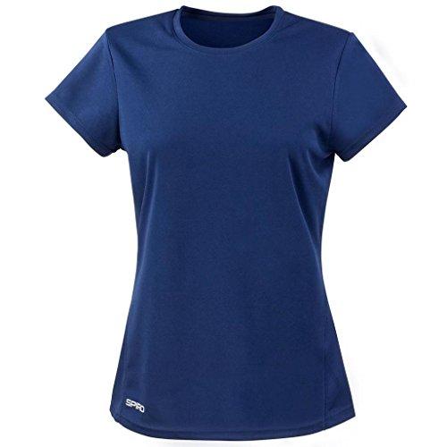 Spiro la práctica de deportes de traje de neopreno para mujer ahogadilla para correr de secado rápido para mujer de manga corta para T-Shirt azul marino