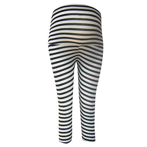 (Women's Maternity Pants Pregnant Yoga Shorts Stripe Seven-Quarter Stretch Casual High Waist Skinny Trousers (L, Black))