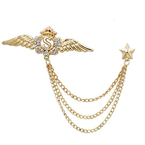 buy imported gold crystal wing star brooches pins for women online