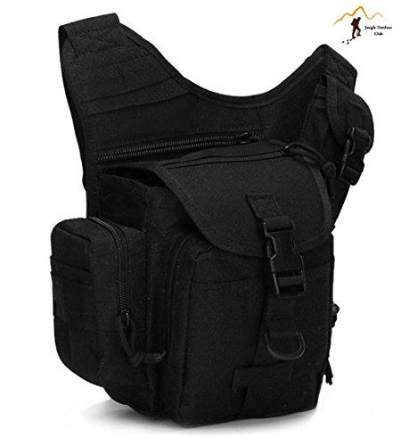 Jungle Oxford Small Saddle Bag Satteltasche Schultertasche Kamera Tasche MOLLE TACTICAL Taschen Wild Tasche Wandern Klettern Radfahren BBQ Runner Rucksack tragbar, Schwarz
