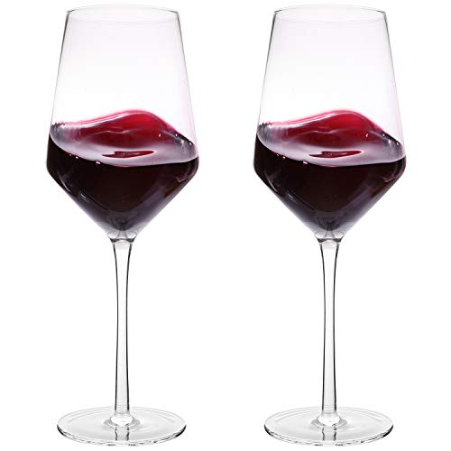 "Hand Blown Crystal Wine Glasses - Bella Vino Classy Red/White Wine Glass Made from 100% Lead Free Premium Crystal Glass, 16 Oz, 9"", Perfect for Any Occasion, Great Gift, Set of 2, Clear"