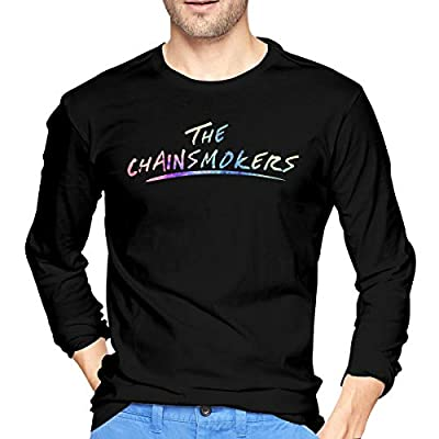 WushXiao The Chainsmokers Men's Comfort Soft Long Sleeve Outdoor T Shirt 100% Cotton Printing T-Shirts Tee Black