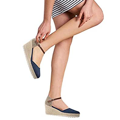 Nailyhome Womens Espadrille Wedges Platform Sandals Closed Toe Ankle Strap Slingback High Heels Sandals Size: 6