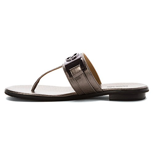 Michael Kors Michael Warren Thong punta abierta del cuero de la correa de la sandalia Gun Metal