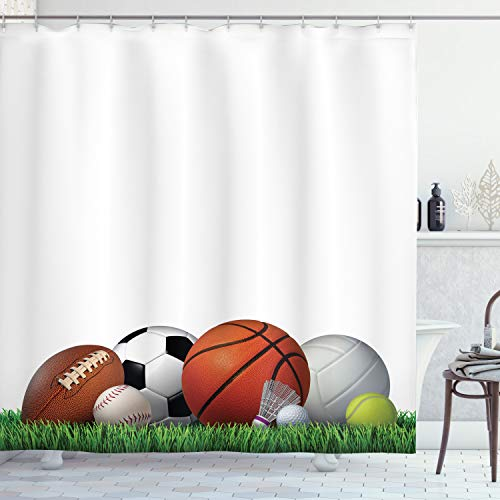 Ambesonne Sports Decor Collection, Sports Equipment on Grass Summertime Outdoor Activities Fitness Exercise Design, Polyester Fabric Bathroom Shower Curtain Set with Hooks, Green Orange White