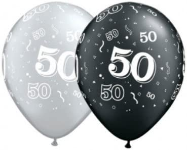 50th Birthday Latex Balloons  Pack of 25
