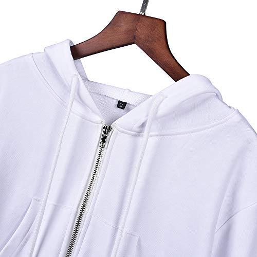 Casual Abrigo Sweatshirts Outwear Mujeres Hoodie Tops De Corto Larga Running Chaqueta Primavera Sudaderas Otoño Capucha Coat Jerséis Cazadora Ropa Jacket Blanco Deportivos Manga Moda Con ZRnxHq
