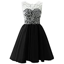 ZAMME Girls Short Tulle Prom Lace Dress Bridesmaid Homecoming Gown Ball
