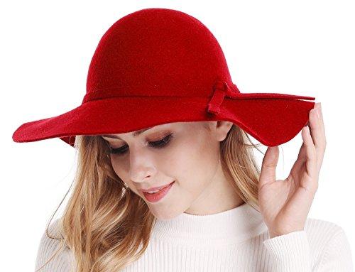 Bienvenu Ladies Wide Brim Wool Hats Floppy Cloche Cap Red