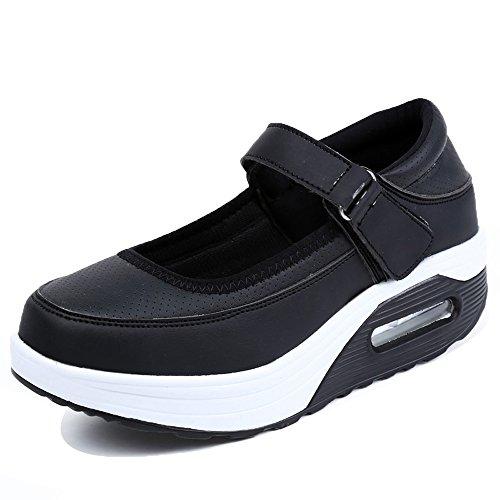 Enllerviid Dames Mary Jane Toning Wandelschoenen Velcro Vorm Up Platform Wiggen Mode Sneakers Zwart