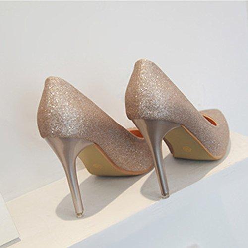 cm Madre scarpe banchetto matrimonio singola 36 calzatura di sposa matrimonio scarpe nero accompagnato argento Punta fine con 9 alta tacco oro zqwSROw