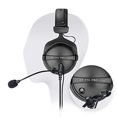 Beyerdynamic DT 770 PRO 32 Ohm Closed Dynamic Over-Ear Headphone -INCLUDES- Antlion Audio Attachable ModMic – Noise Cancelling with Mute Switch + Blucoil Y Splitter For Sale