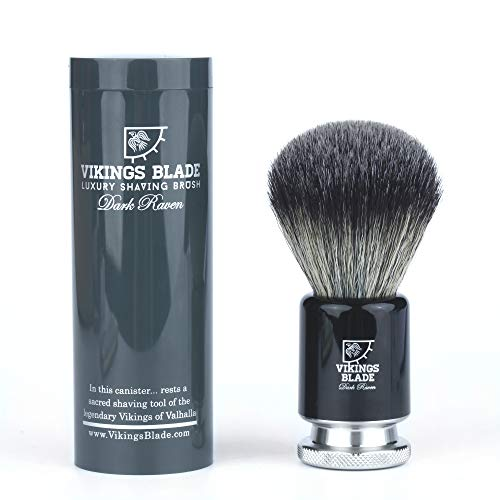 VIKINGS BLADE Luxury Shaving Brush, Heavy Duty Steel Base + Polished Obsidian Acrylic (Dark Raven)