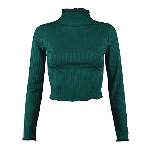 Sunhusing Women's Knit Pleated Turtleneck Short Crop Top Casual Long Sleeve Sweatshirt Green