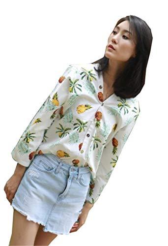 [エージョン] レディース 長袖tシャツ ゆったり アロハシャツ 長袖 トップス ボタンダウン vネック パイナップル ファッション