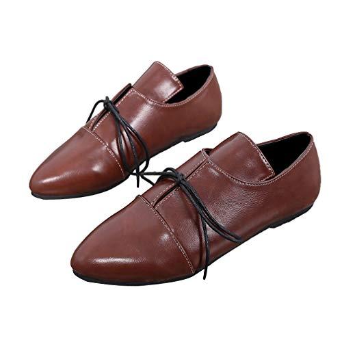Unie chaussures Derbies Rouge Pointé Eu Lacets Rétro Vin Plates À Chaussures Brogues Couleurs Femmes Élégant Loisirs 42 3 Couleur 35 Pompes f5RqPxq