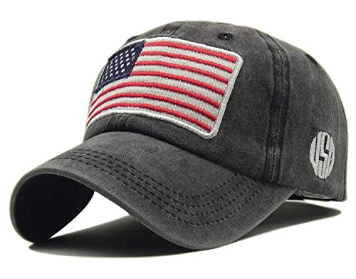 Embroidered Fitted Cap - LOKIDVE Embroidered American Flag Baseball Cap Washed Cotton Low Profile Hat-Black