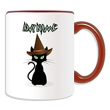 Personalizzati Motivo Gatto Con Cappello Di Strega Tazza Motivo