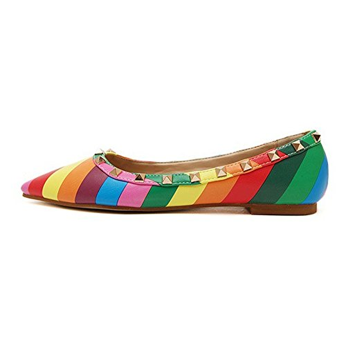 Jessi rainbow Flats Shoes Toe Ballet Studded Rivets Maiernisi Pointed Women's 2 axdf1nwAq