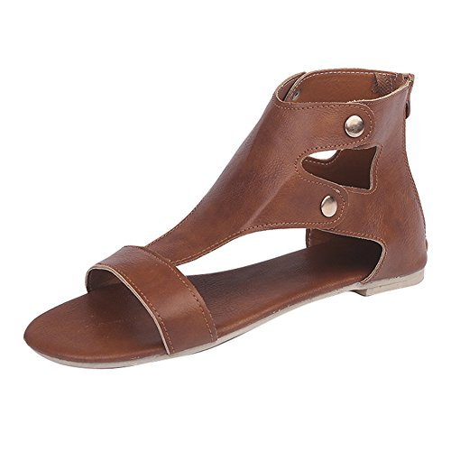 Casual Oficina 36 Zapatos Gladiador 43 Remache Sandalias Plano Peep Romano Toe Zapatos Sandalias Sandalias Sandalias Aire Libre Al Verano Rojo Juleya Marrón Mujer Fiesta Z4qRO