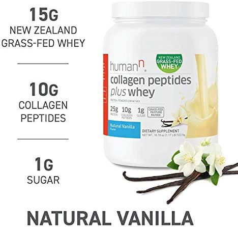HumanN Collagen Peptides Plus Whey   Low-Carb, Grass-Fed, Pasture-Raised, 10 Grams of Collagen Peptides Plus 15 Grams of Whey Protein, Gluten Free, Soy Free, Non-GMO, Type I and III (Vanilla)