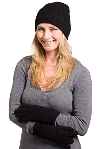 Fishers Finery 100% Pure Cashmere Set, Cable Hat and Glove Set - Black