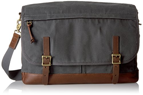 Price comparison product image Fossil Men's Defender Waxed Canvas Messenger Bag, Grey
