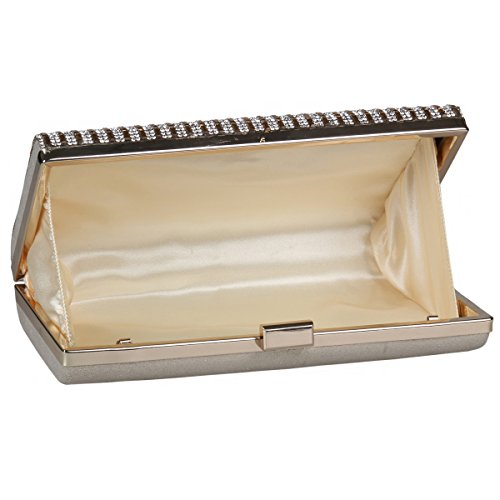 Luxurious Bag Hardware Clutch Silver Damara Rhinestone Party Womens Striped FSZq5vw