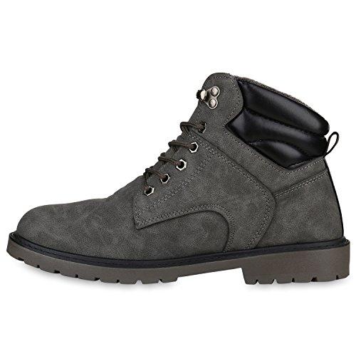 Stiefelparadies Herren Outdoor Boots Gefütterte Winter Schuhe Bequem Profil Sohle Flandell Grau