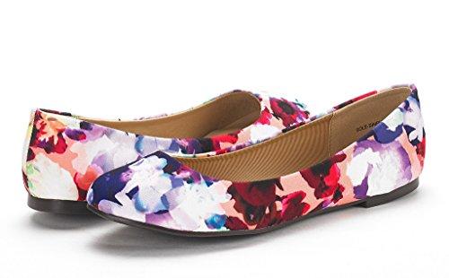 DREAM PAIRS Damen Sole Einfache Ballerina Walking Wohnungen Schuhe Blumen