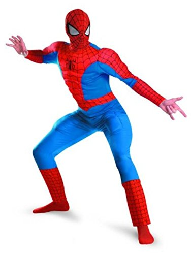 Marvel Spiderman Adult Costumes (Disguise Men's Marvel Spider-Man Deluxe Muscle Costume, Blue/Red, XX-Large)
