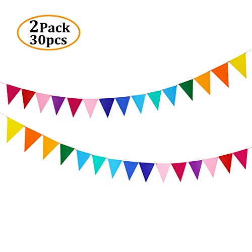 - Rainbow Felt Fabric Bunting, 30 Pcs/26 Feet(2 Pack) Decoration Banners Pennant for Birthday Party, Baby Shower, Window Decorations and Children's Living Room Decorations