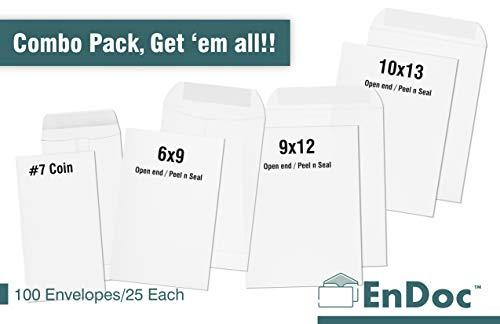(Assorted Pack - Office Envelopes Bulk Variety Pack 25 Each Size- 10x13 Self Seal, 9x12 Self Seal, 6x9 Self Seal, 7 Coin Envelopes & Desk Storage Box - 100 Count Total - White Catalog)