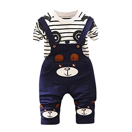 Super X Young Children Wear Baby Boy Girl Panda Print Shirt + Strap Pants Overalls Suit Clothes Suit Red ()