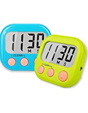 Kitchen Timer, 2 Pack Digital Kitchen Timers Big LCD Screen Loud Alarm Strong Magnetic Back and Stand, Minute Seconds Count Up Countdown and Simple Operation For Cooking, Classroom, Bathroom, Teachers, Kids-(Blue+Green)
