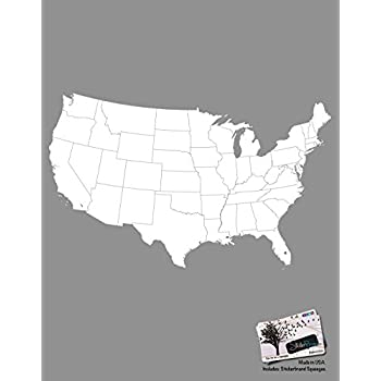 stickerbrand vinyl wall art usa map w state borders wall decal sticker white