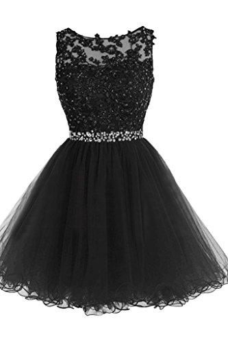 vestito ressing Girocollo Mini vestito nero Pizzo Donna abito a sera Festa 44 Party Sweetheart ivyd da Prom abito linea a1dqa