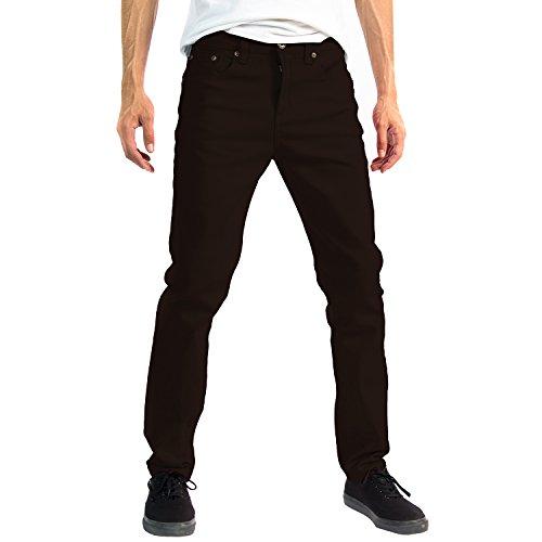 Alta Designer Fashion Mens Slim Fit Skinny Denim Jeans - Brown - 36