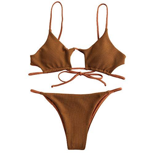 (ZAFUL Womens Sexy Spaghetti Strap Hollow Out Braided Ribbed Cutout Bikini Sets (M, Tiger Orange))