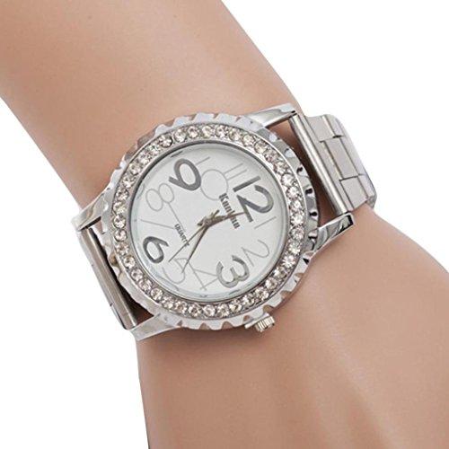 Price comparison product image Pocciol New Unsex Men Lady Round Shape Wrist Watch,  Fashion Women Unisex Stainless Steel Quartz Crystal Wrist Watch (Silver)