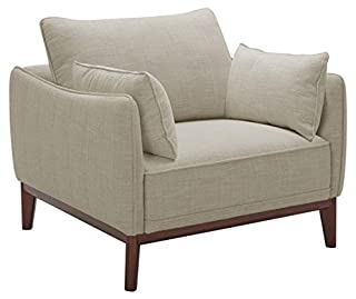 """Stone & Beam Hillman Mid-Century Living Room Chair with Tapered Legs and Removable Cushions, 39""""W, Ivory (B07QCMB7J1) 