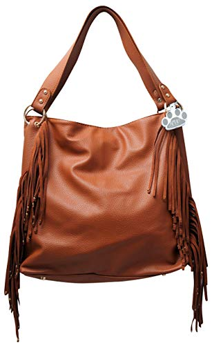 (HW Collection Western Purse Fringe Dual Entry Concealed Carry Shoulder Handbag (Light Brown))