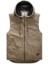 WenVen Men's Cotton Quilt Lined Vest Hooded Military Gilets
