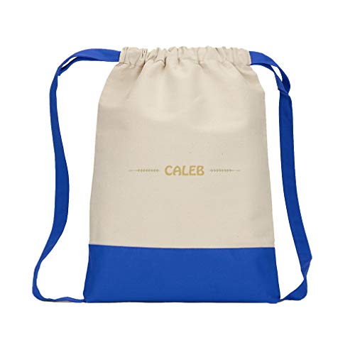 Personalized Custom Text Boy's Monograms Cotton Canvas Color Drawstring Bag Backpack - Royal Blue -