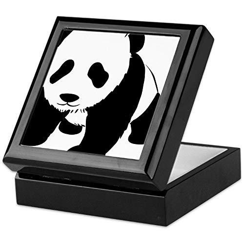 CafePress Panda Bear Keepsake Box, Finished Hardwood Jewelry Box, Velvet Lined Memento Box