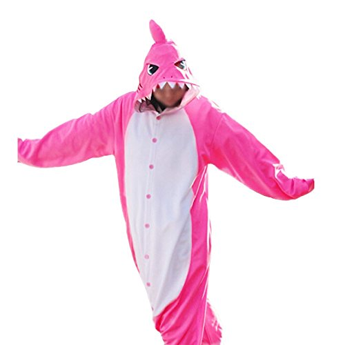 WOTOGOLD Animal Cosplay Costume  Shark Unisex Adult Pajamas ,X-Large,Rose Red -